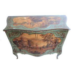 A very fine 19th century Italian antique decorated commode, the top and side panels and drawers are hand decorated with...
