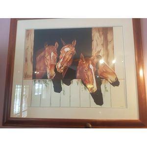 John Grbic watercolour painting of four horses in stable . Fine work by this accomplished artist . Dimensions overall framing .