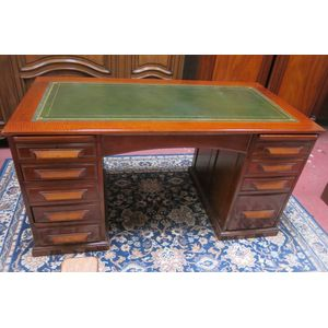 Oak leather top pedestal desk