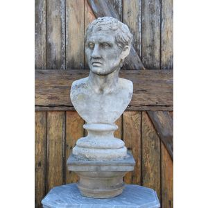 Antique carved bust of Augustus in reconstituted stone, possibly Coadstone but unsigned. Excellent lifelike details and very...
