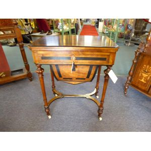 Figured walnut with boxwood stringing and ebony inlay combination work table with fitted drawer above which lies the inlaid top...
