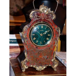 This French Boulle clock case is about 1880. It is finely cut brass lacework inset into faux tortoiseshell. The technique was...