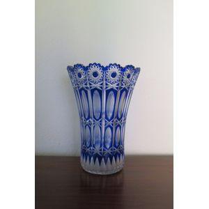 Art Deco large blue cut glass vase