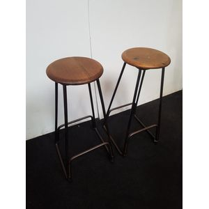 Pair of Melbourne University lab stools from the 1920s. Melbourne University stamps. Wrought iron bases, great industrial style...