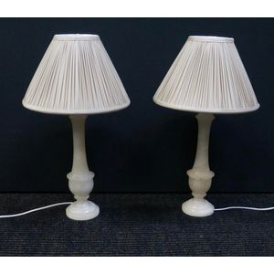 Pail Of Italian Alabaster Lamps In Rewired Condition  $645 Inc Shades