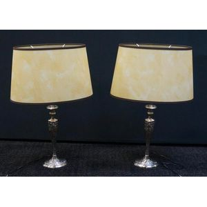 Pair Of Art Nouveau Style Nickle Plated Lamps ........In Rewired Condition ....With Parchment Shades ........$790 The Pair