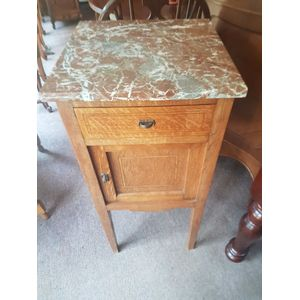 French oak art-deco rouge marble top cabinet . One drawer one door in fantastic condition .