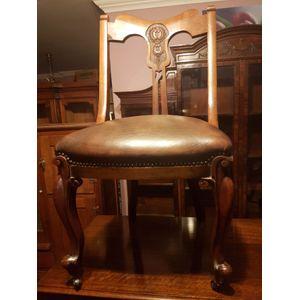 Late victorian walnut leather
