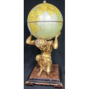 Large globe bar on the shoulders of Atlas,  walnut and composite material,  c.1960s,  45 x 110cm high