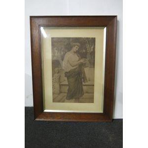 Edwardian print of lady in oak