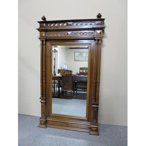 A French walnut mirror in the