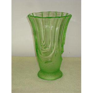 Tall Art Deco Uranium Glass Va