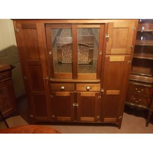 Tasmanian oak kitchen dresser/hutch .Leadlight sliding doors all original handles hinges . Full length door left hand side with...