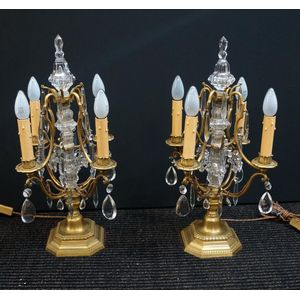 Pair of French Crystal and Gil