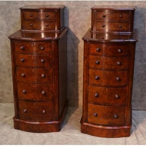Pair of Victorian Burr Walnut