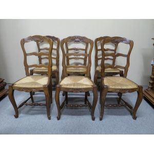 Set of 6 French oak carved lad