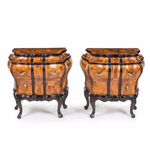 A late 19th, early 20th century pair of Italian olivewood commodes, of small proportion. The bombe shaped olivewood caddy top...