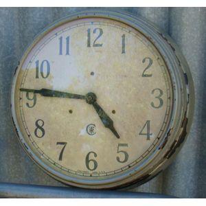 A vintage Cincinnati Time Recording wall clock of Cincinnati Ohio Usa (Ctr) case metal Step Bezel-Enamel c1930 , converted to a...