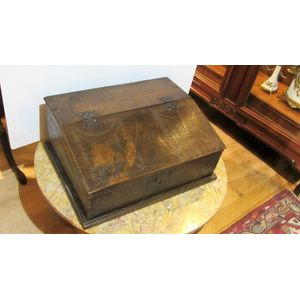 17th Century Oak Bible box with scratch carved decoration, iron hinges and lock and candle section to interior.