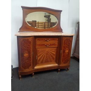 Gorgeous French Art Deco buffet-sideboard with marble top, mirror back, inlayed door and drawer fronts of walnut, mahogany.
