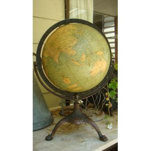 A Weber Costello & Co 12 inch Terrestrial Globe c1924 The Globe is mounted into a cast-iron full meridian which sits into a...