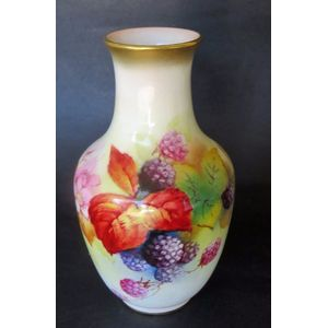 A Royal Worcester hand painted vase decorated with fruit and signed by Kitty Blake. 1949