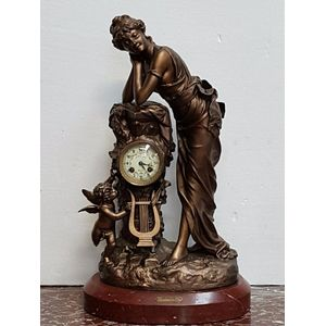 "A spectacular signed antique French 19th century ""reveuse"" figural clock sitting on a marble base, has been mechanically..."