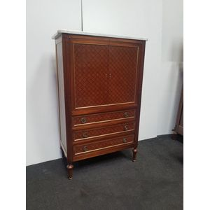Gorgeous French liquor, storage cabinet. Crossbanded marquatery, brass inlay, white marble top. Exquisite detailing.