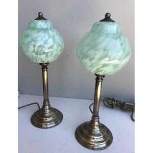 Pair of solid brass column lam