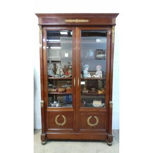 Stunning French 19th century second Empire period mahogany two door bookcase. Has elaborate ormolu details throughout. Highly...
