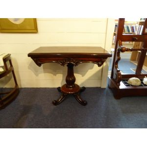 Rosewood William 1V fold-over card table on a centre pedestal and hidden casters.   Bada Seal.  New baize.  When open for...