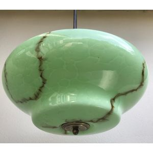 Large 1930's moulded green marbled glass deco ceiling light shade with black/brown veining. Shade comes complete with aged...