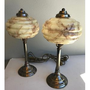 Nice pair of solid brass column lamps with aged patina finish and original 1930's Czech deco cream/brown moulded glass...