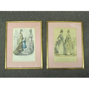 A pair of fashion illustrations from 1877, France. There are some gilding losses to the 1970s(?)frames. $150 Pr.