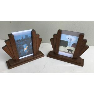 Nice pair of 1930's English oak picture frames....with glass. Classic deco design. Each is 205mm wide by 160mm high and are...