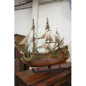 Model ship Soleil Royal or Royal Sun. Built by France in 1669 and was the most powerful battle galleon till 1692. The model is...