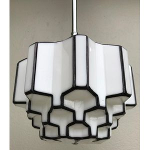 Smaller 1930's American deco black/white 'beehive' skyscraper light shade. Comes complete with chrome rod suspension fittings...