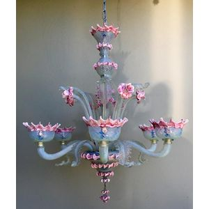 Beautiful 1950's Italian Murano hand blown opalescent and pink glass 6 light chandelier. This is a delightful fixture, with...