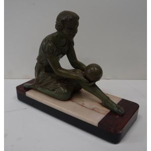 French Art Deco Statue in Good Clean Detailed Condition,Marble Base and Spelter Figure