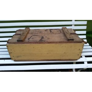 Old pine ammunitions box with