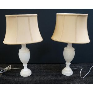 pair of marble lamps in rewire