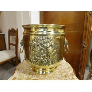 A large antique brass planter