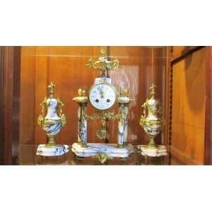 Lovely french Louis XVIth style 3 piece marble & ormolu clock set. Movement restoration additional
