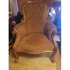 Antique  australian cedar armchair .Solid frame comfortable covered innice neautral tan fabric  .Buttoned back in great...
