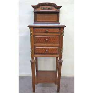 A fine quality marble top mahogany bedside cabinet. Inlaid and embellished with fine mounts and upstand with shelf. One drawer...