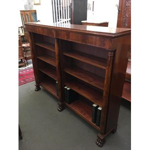 European made Mahogany Classical Style double bay open bookshelves with flame Mahogany frieze, fully adjustable shelves, 3 free...