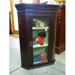 A mid-Victorian circa 1860 English corner cabinet with glass fronted door, the inside shelves are lined. In good original...