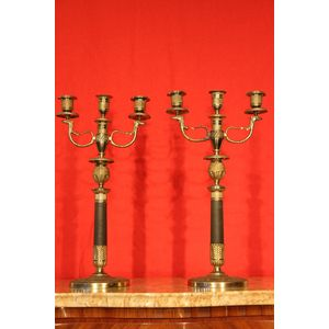 Pair Empire Bronze candelabra 3 light gilt ormolu candelabra with superb quality engine turned and chisseled ormolu details....