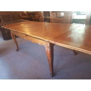 French cherrywood drawleaf table ,seat 10-12 nice colour in great condition . 280cm extended 158cm closed .