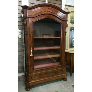 French mahogany single door armoire/bookcase with adjustable shelves, and drawer to base .